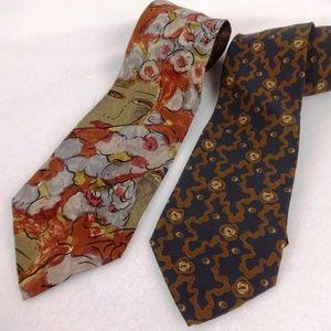 Giorgio Armani 2 Silk Ties Vintage Rust Brown face